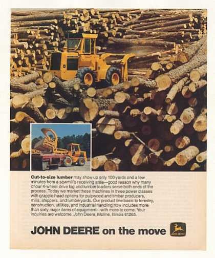 John Deere Log Lumber Loader Tractor Photo (1978)