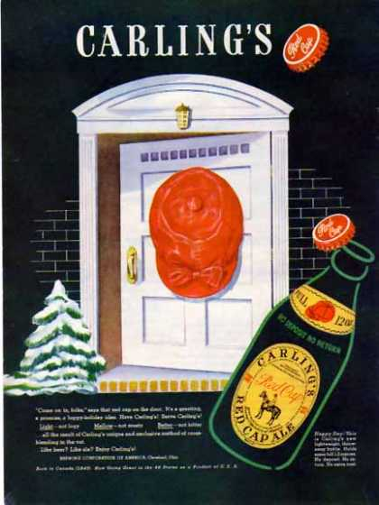 Carling's Red Cap 's Holiday Beer – Throwaway Bottle – Sold (1950)
