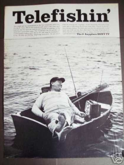 Man In Boat Fishing Sony Battery Tv Television (1965)