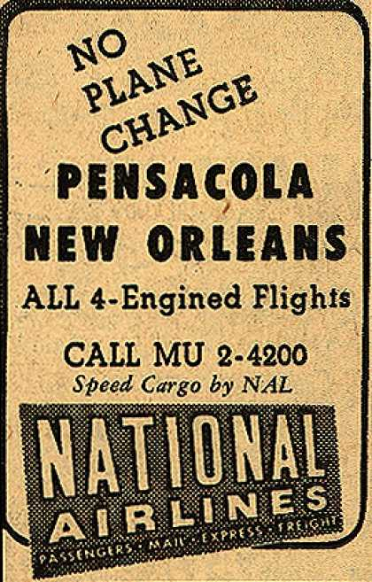 National Airline's Pensacola and New Orleans – No Plane Change Pensacola New Orleans (1948)