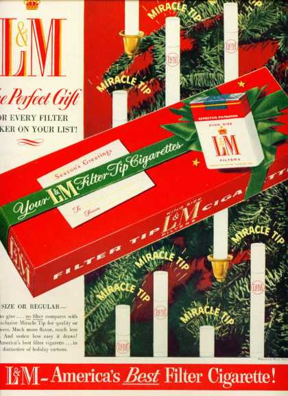 L & M Cigarettes Christmas Carton Very Pretty C (1960)