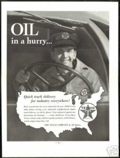Texaco Oil Tanker Truck Driver Vintage Photo (1938)