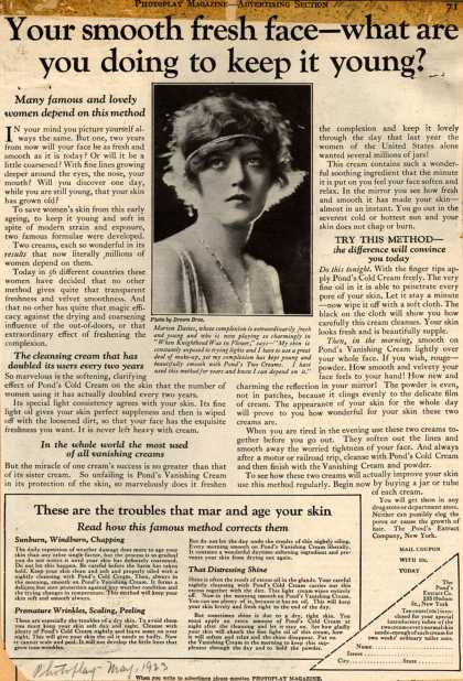 Pond's Extract Co.'s Pond's Cold Cream and Vanishing Cream – Your smooth fresh face – what are you doing to keep it young? (1923)