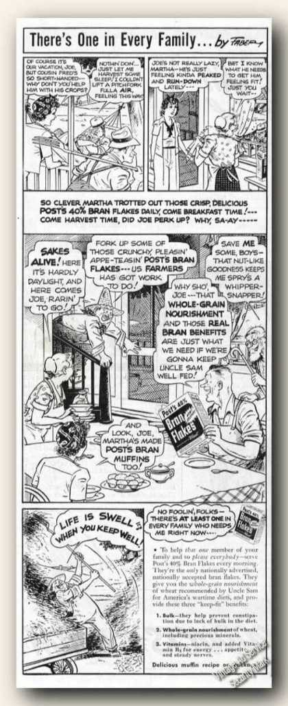 Post&#8217;s 40% Bran Flakes Cartoon (1943)