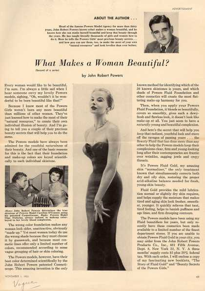 John Robert Powers Products Co.'s Various – What Makes A Woman Beautiful? (1953)