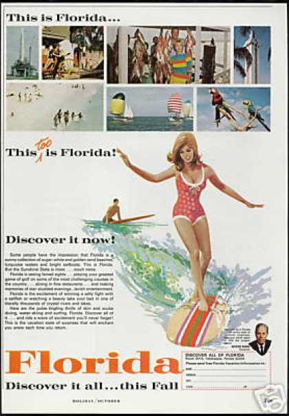 Florida Travel Surfboard Surfer Vintage (1966)