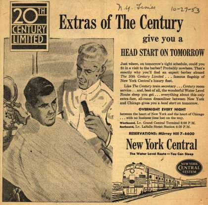 New York Central System's 20th Century Limited – Extras of The Century give you a Head Start On Tomorrow (1953)
