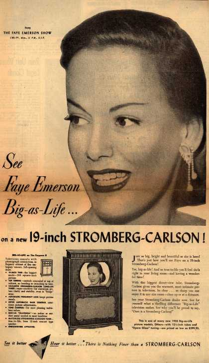 Stromberg-Carlson Company's 19-inch Television – See Faye Emerson Big-as-Life... on a new 19-inch Stromberg-Carlson (1950)
