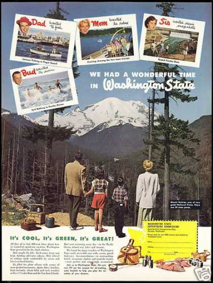 Washington State Travel Mt Rainier Photo (1952)