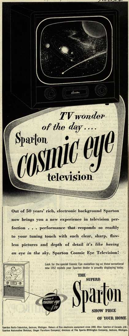 Sparton Radio-Television's Cosmic Eye Television – TV wonder of the day... Sparton Cosmic Eye Television (1952)