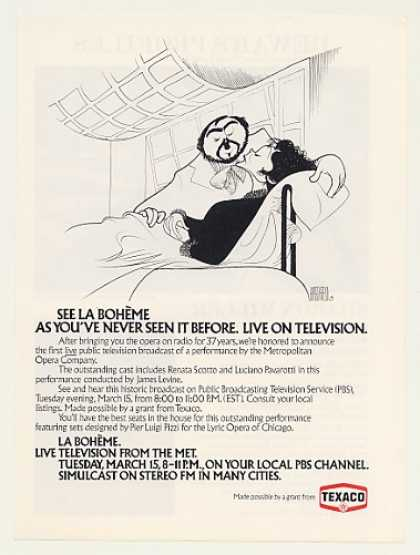 &#8217;77 Pavarotti La Boheme Al Hirschfeld art PBS Texaco (1977)