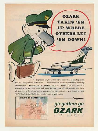 Ozark Airlines Go-Getter Bird Cities Map (1968)