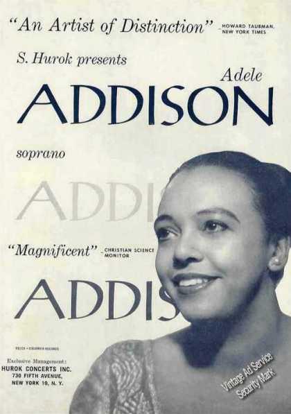 Adele Addison Photo Soprano Booking (1961)