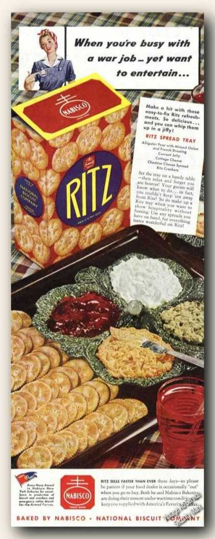 Ritz Crackers Nice Color Spread Tray Food (1943)