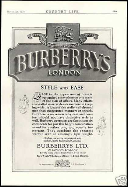 Burberrys LTD London England Fashion (1926)