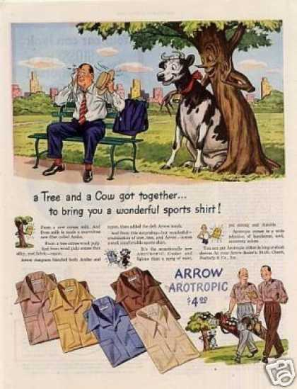 "Arrow Shirts Ad ""A Tree and a Cow... (1945)"