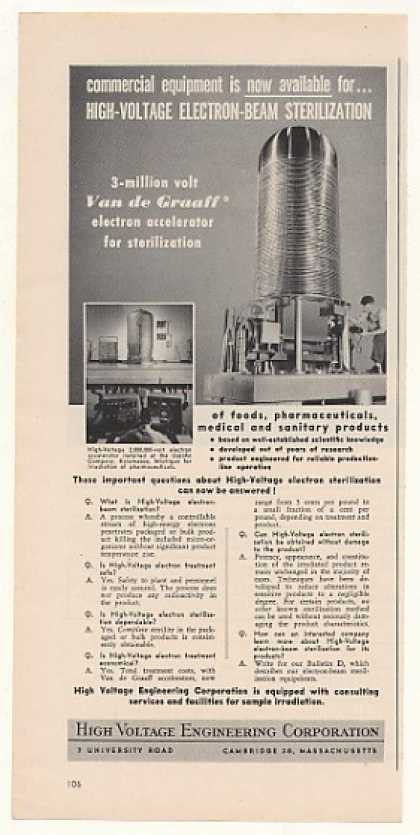 High Voltage Van de Graaf Electron Accelerator (1951)