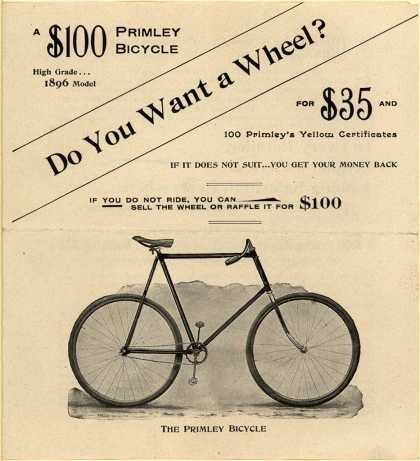 Primley Bicycle, Wrigley's Chewing Gum's Primley Bicycles – Do you want a wheel? (1896)