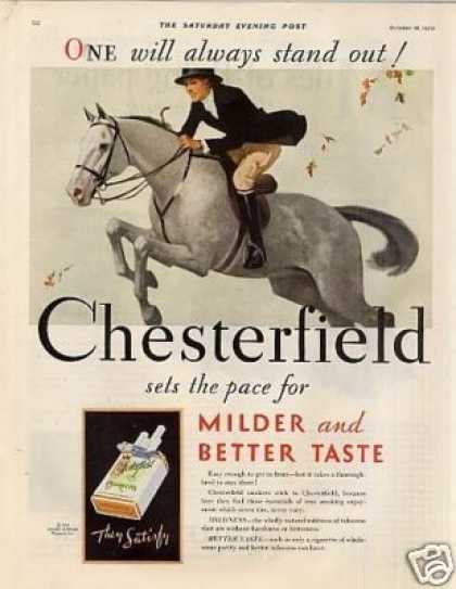 Chesterfield Cigarettes Ad Lady On Horse (1930)