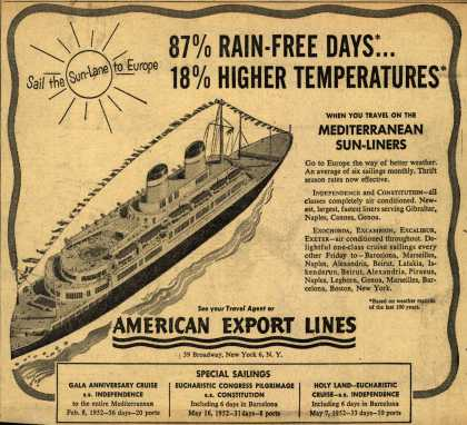 American Export Line's Mediterranean – 87% Rain-Free Days... 18% Higher Temperatures (1951)