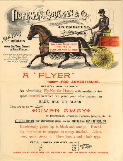 "Hoffman, Corkran & Co.'s advertising – A ""Flyer"" For Advertisers."
