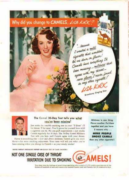 Camel Cigarettes – Lisa Kirk Broadway Singing Star (1951)