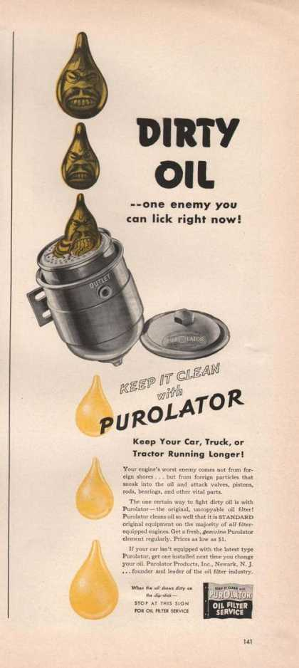 Purolator Oil Filter Service for Cars Prin (1942)