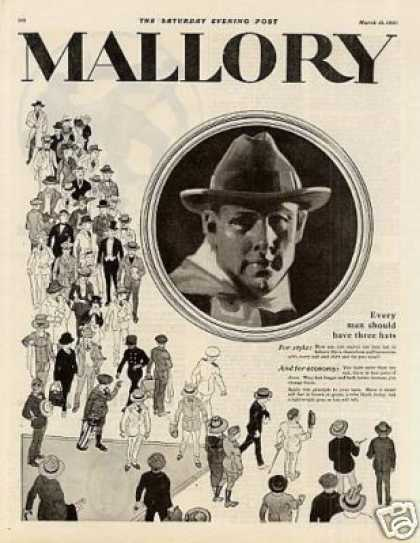 Mallory Hats Ad 2 Page (1920)