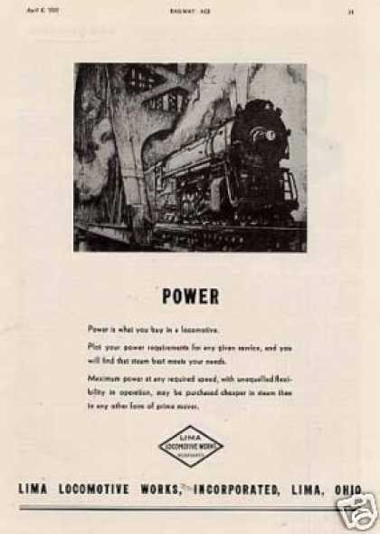 "Lima Locomotive Ad ""Power... (1935)"