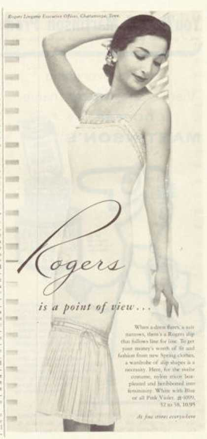 Rogers Fashion Lingerie Slip Ad Woman (1955)