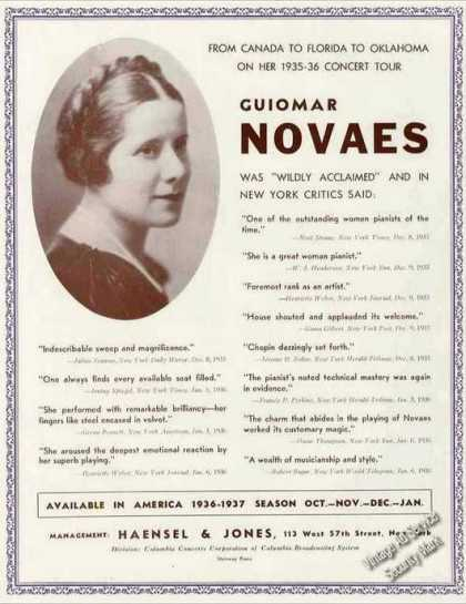 Guiomar Novaes Photo Pianist Booking (1936)