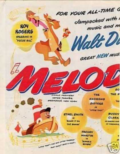"Movie Ad Walt Disney's ""Melody Time"" Centerfold (1948)"