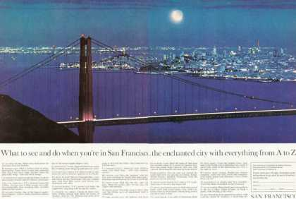 San Francisco City Golden Gate at Night (1963)