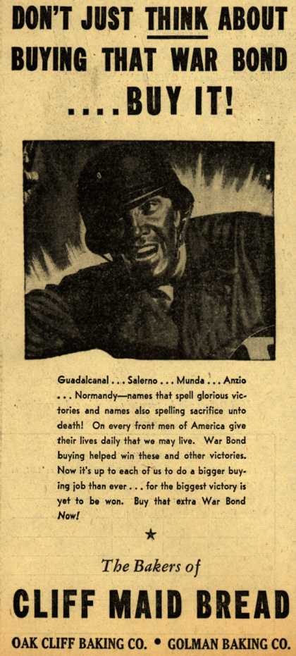 Cliff Maid Bread's War Bonds – Don't Just Think About Buying That War Bond... Buy It (1944)