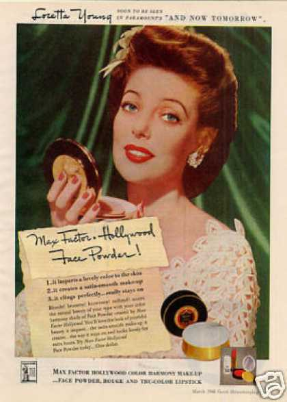 Max-factor Make-up Ad Loretta Young (1944)