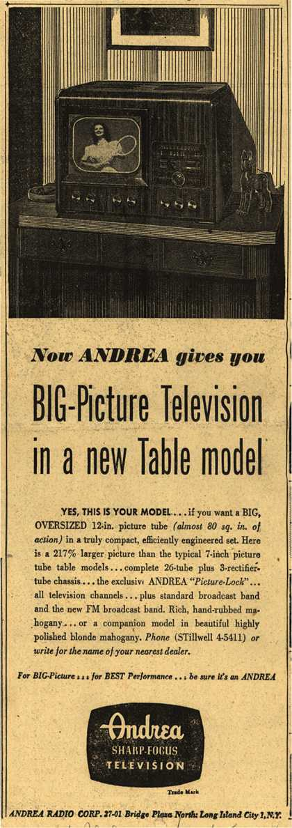 "Andrea Radio Corporation's 12"" Table Television – Now Andrea Gives You Big-Picture Television In a New Table Model (1948)"