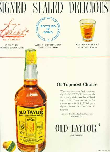Old Taylor Kentucky Straight Bourbon Whiskey C (1950)