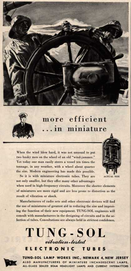 Tung-Sol Electronic Tube's Radio Tubes – more efficient... in miniature (1945)