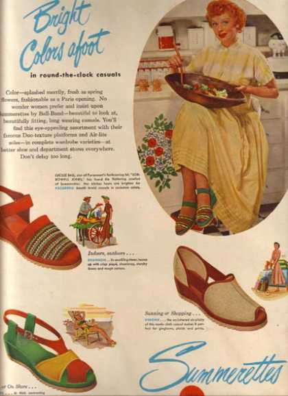 Summerettes shoes – Lucille Ball (1949)