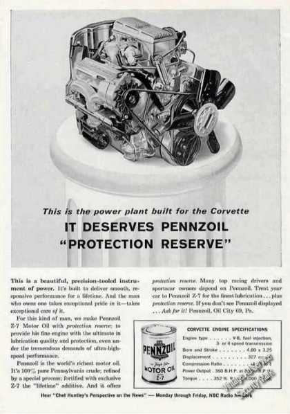 Corvette V-8 Engine Photo Pennzoil (1963)