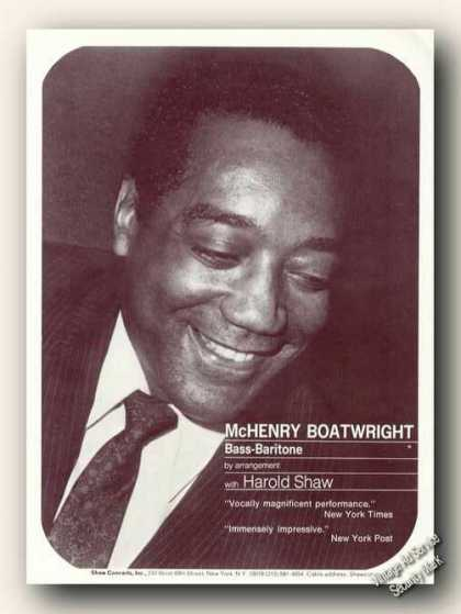 Mchenry Boatwright Photo Ad Music (1970)