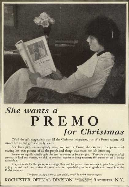 Kodak&#8217;s Premo cameras &#8211; She wants a Premo for Christmas (1916)