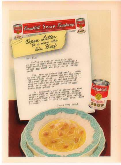 Campbell's Soup – An open-letter to a man who likes beef – Sold (1949)