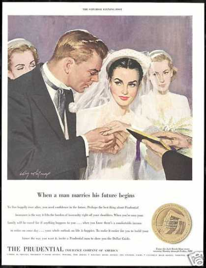 Wedding Couple Ceremony Prudential Insurance 1951