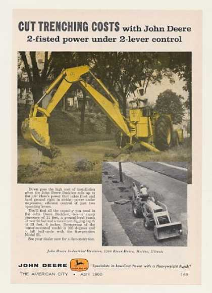 John Deere Backhoe Cut Trenching Costs (1960)
