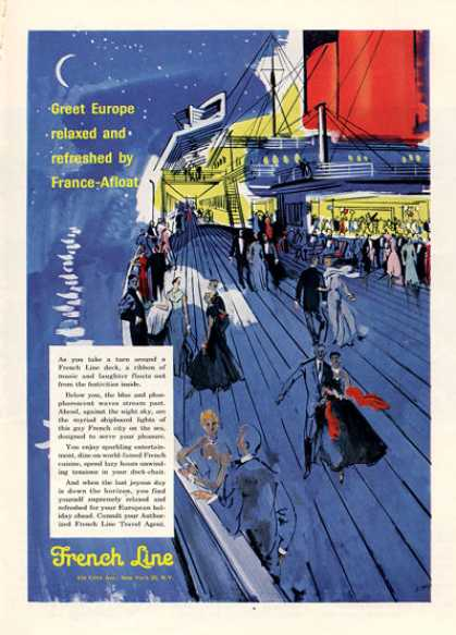 French Line Cruise Ship Boat Art (1956)