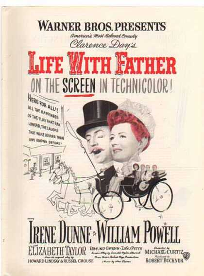 Life With Father Movie – Dunne, Powell, Taylor (1944)