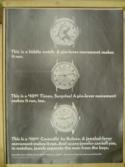 Caravelle by Bulova. Comparison to Kiddie watch and Timex (1968)