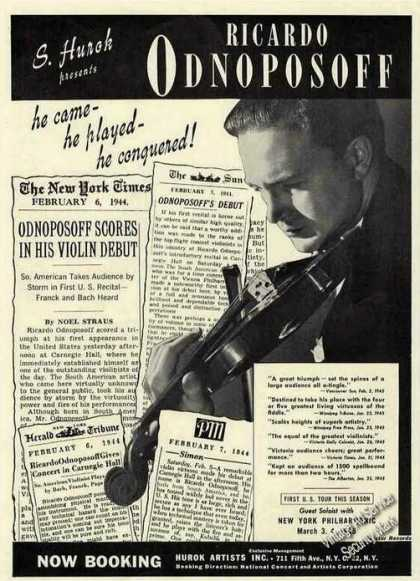 Ricardo Odnoposoff Photo Violin Booking (1945)