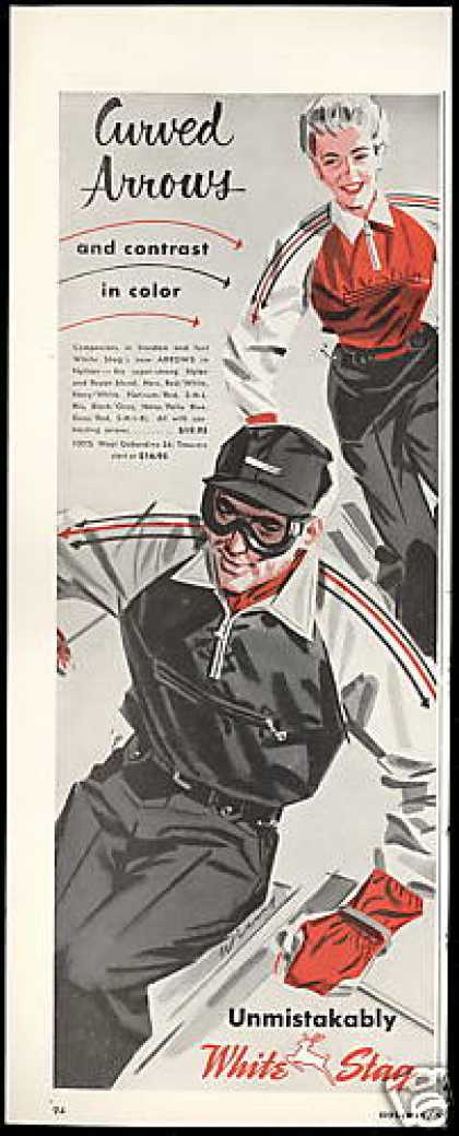 Snow Skier Art White Stag Ski Fashion (1952)